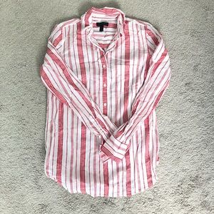 J crew red and white shirt